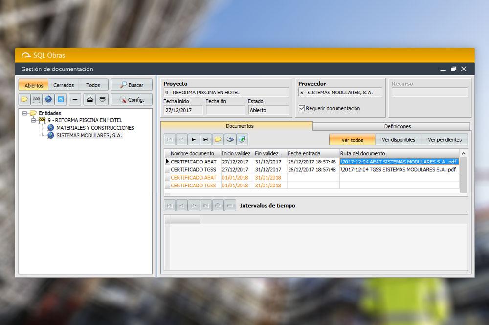 control documentación subcontratas