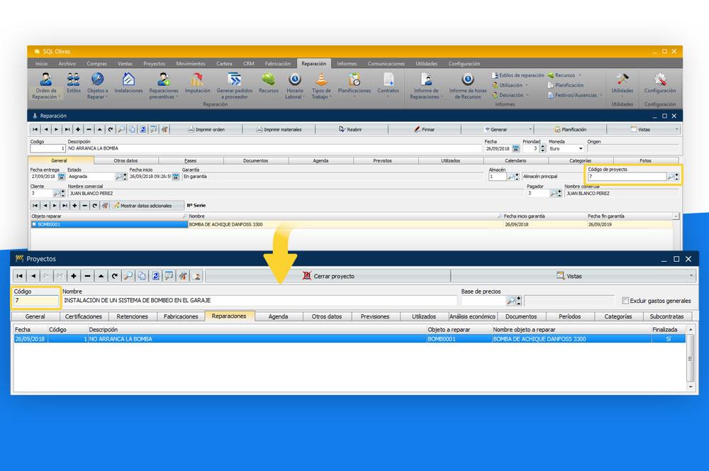 imputación automática de reparaciones a un proyecto