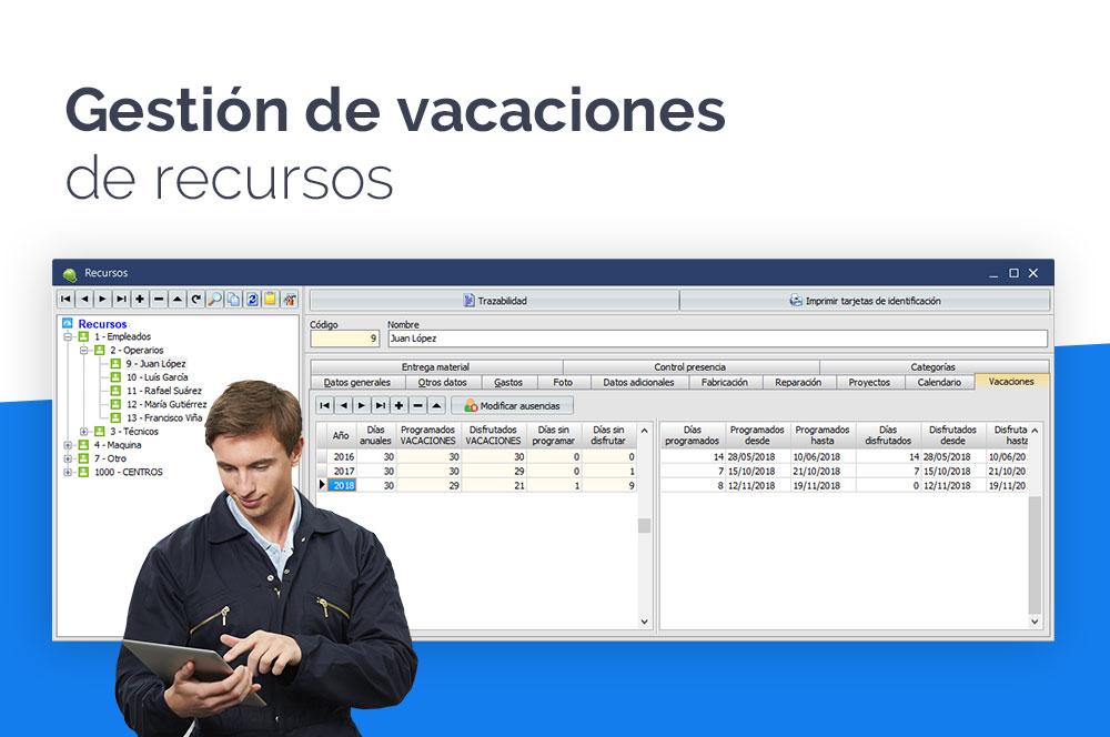 gestión de vacaciones de recursos